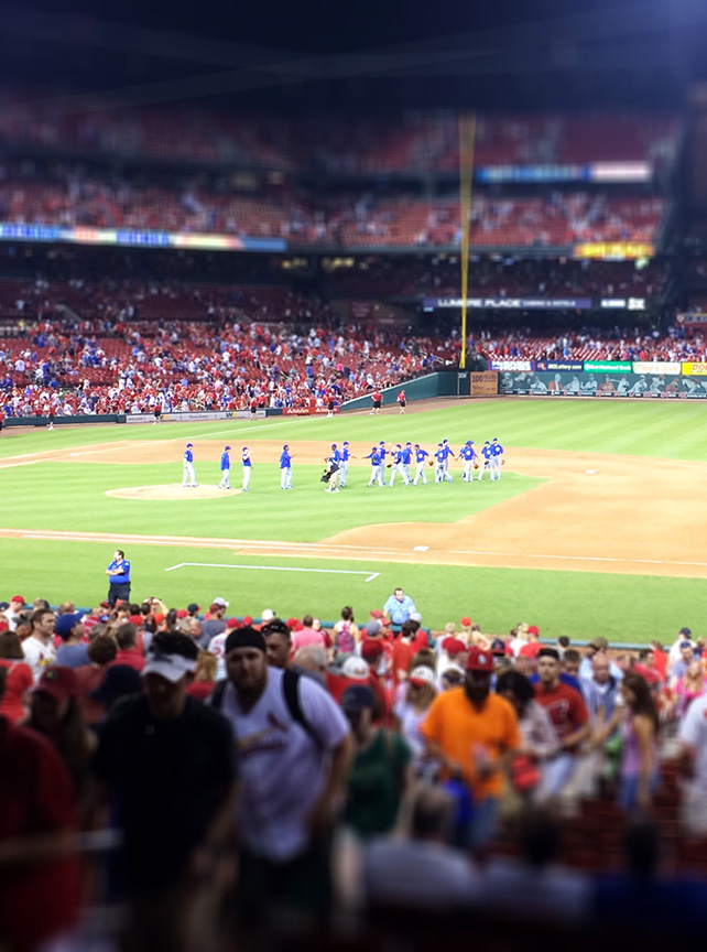 Cubs congratulate each other, busch stadium