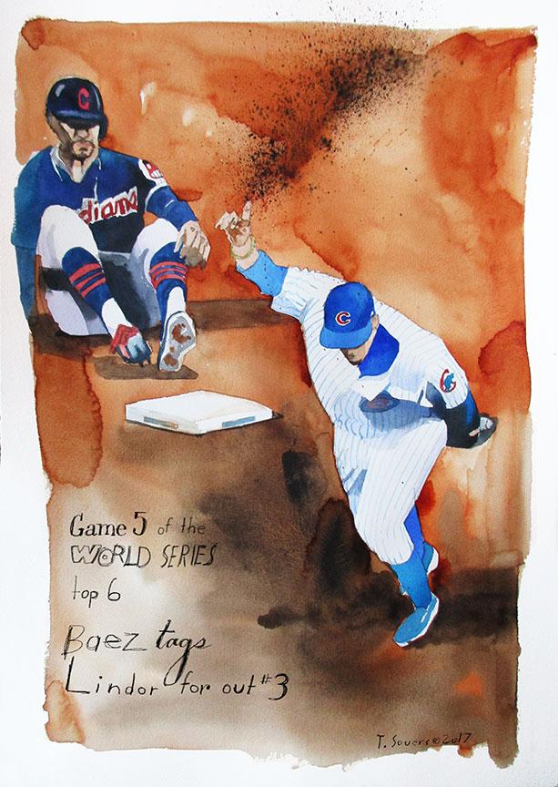 Baez-Tags-Lindor,-World-Series-game-5,-2016