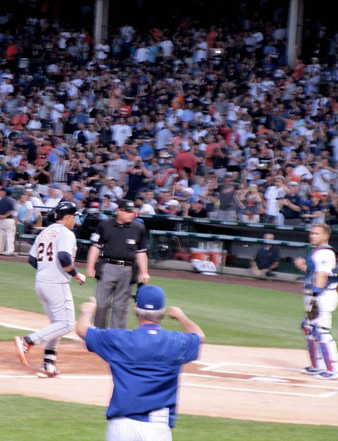 Joe Maddon protests Cabrera's home run at Wrigley
