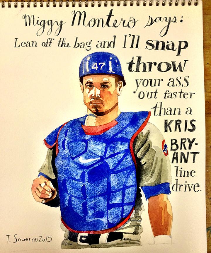 Miguel Montero, cubs, snap throw, watercolor