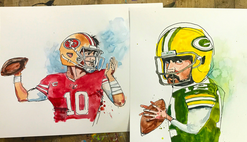 Garoppolo-vs-Rodgers.illustration.watercolor