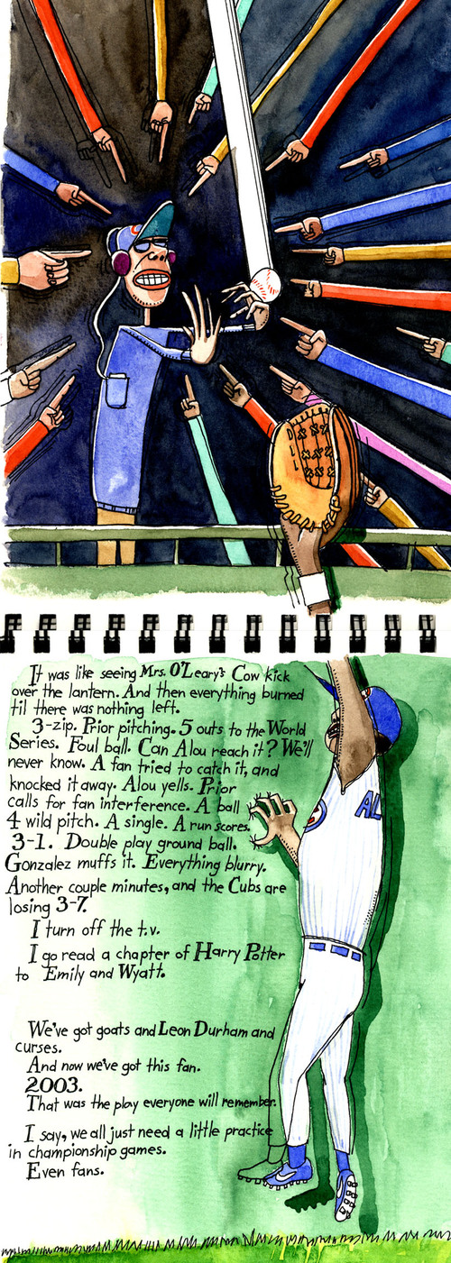 Bartman, Moises Alou, Chicago Cubs, 2003 NLCS, Florida Marlins, Wrigley Field, art image,