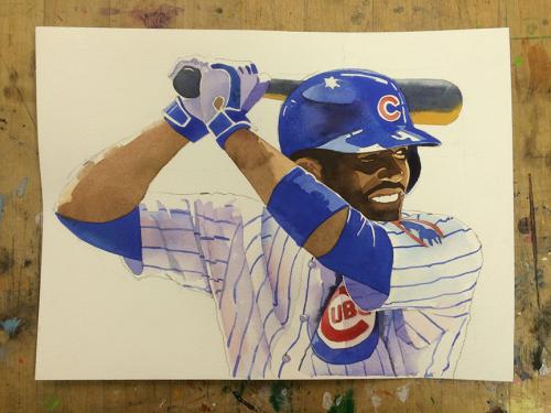 Dexter-Fowler,-Cubs-Profile-Watercolor
